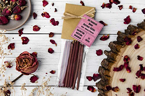 12 Rose Incense Sticks - Made With Real Red Rose Petals - All Natural, Hand Rolled Herbal Incense