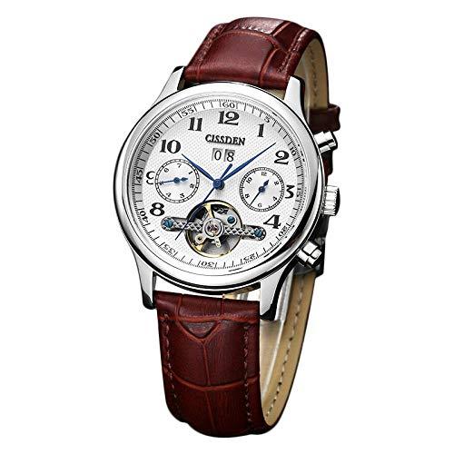 Armbanduhr,Business-Kalender Wasserdicht Tourbillon Mechanische Uhr, Digital White Face Belt