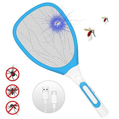 SZFREE Mouche Moustique éLectronique USB Charge Poche Multi-Insectes Raquette Zapper avec Lampe LED Trois Couches Grande Maille Tapette à Mouches