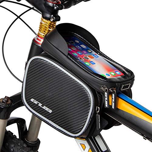 Lixada cykel ramväskor, vattentät cykel väska övre rörväska mobiltelefonficka, pekskärm telefonhållare för 6,6 tums mobiltelefoner, 20 x 15 x 16,5 cm, svart
