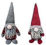 Pack 2 de Muñeca de Navidad Sentado Figura Papá Noel sin Cara Gnomo Elfo de Peluche Decoración de Mesa Repisa Rojo y Gris Altura 38CM (Modelo C)
