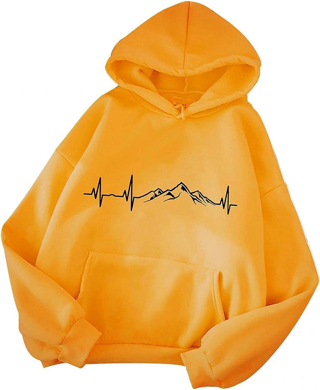 Toeava Hoodies for Women, Women Fashion Solid Color Long Sleeve Hooded Sweatshirt Tops Casual Loose Drawstring Blouse