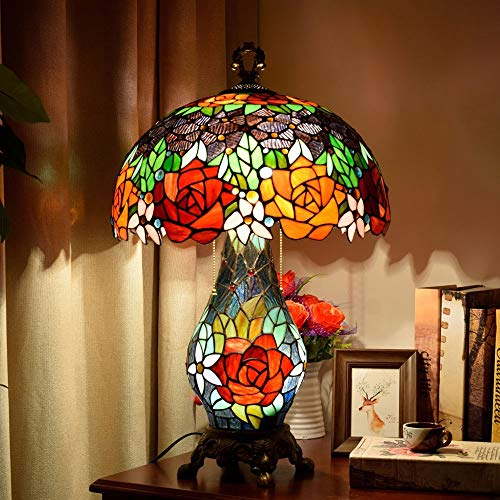ETH lámpara de Mesa Idílico Creativo Retro Rosa Flor Lámpara De Mesa Clásica Cálida Sala De Estar Dormitorio Bar De Hotel Lámparas De Vidrio 40 * 65 Cm