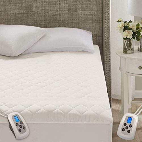 Marquess Quilted Heated Mattress Pad Dual Digital Controller with Deep Pocket,10 Heating Levels Fast Heating (White, King)