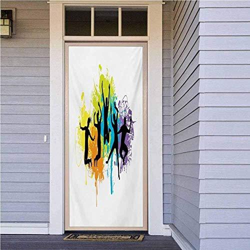 YANGCH Pegatinas Puertas Cristal 200 X 77 Cm Color Graffiti Deportes Gente Pegatina De Puerta Para Chicas Adolescentes En El Dormitoriosobre Fondo Vinilo Puerta Calcomanías Papel Tapiz Murales De Pare