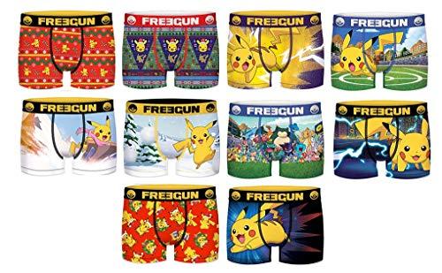 Freegun Underwear Boxershorts Freegun Fantasie, Stil und Komfort aus Mikrofaser, verschiedene Modelle von Fotos je nach Verfügbarkeit, mehrfarbig Gr. S, 4 Boxershorts mit Pokémon-Überraschung.