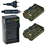 Chili Power BP-511, BP-511A Kit: 2x Batería + Cargador para Canon EOS 5d, 10d, 20d, 20Da, 30d, 40d, 50d, 300d, D30, D60, Rebel, PowerShot G1de  G6, Pro 1, Pro 90IS, FV2– FV400, FVM1, FVM10, ZR10– ZR90