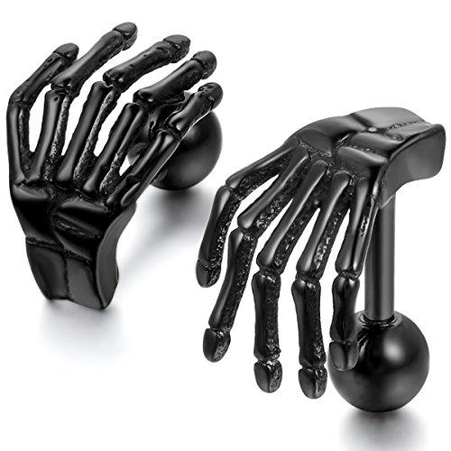JewelryWe Schmuck Herren-Ohrringe, Edelstahl Gotik Totenkopf Knochen Hand, Schwarz