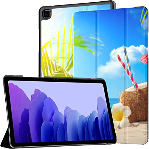 Sandy Tropical Beach With Summer Drinks Samsung Tab A Case Galaxy Tab A7 10.4 Inch Case For Tablet Samsung Galaxy Tablet Case With Auto Wake/sleep Fit Samsung Galaxy Tablet Case For Galaxy Tab A7 Sm-