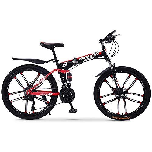 DRAKE18 Bicicleta de montaña Plegable, 26 Pulgadas Off-Road 30 velocidades, Velocidad Variable, Doble amortiguación de los Hombres, Bicicleta, señoras, Montar a Caballo al Aire Libre, Adultos,A