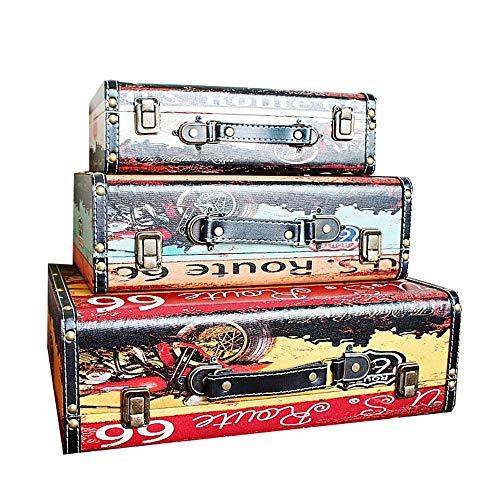 ZDAMN Maletas Vintage Maletas Decorativo de la Vendimia de Disparo Regalos 3pcs Puntales y decoración del hogar para Dormitorio (Color, Size : 3 PCS)