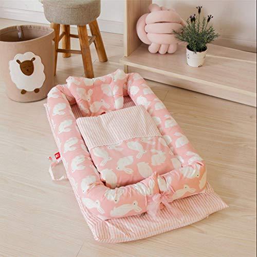 Wan-b Babybett-Bett-tragbares Krippenbett mit der Steppdecke entfernbar und waschbar Baby-Lokalisierungs-Bett-neugeborenes bionisches Bett,Color2,90x55x15cm