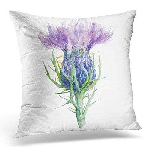 Funda de almohada decorativa con diseño de cardo de leche escocesa morado y flores de acuarela, diseño de hígado blanco, funda de almohada cuadrada para decoración del hogar, 45,7 x 45,7 cm