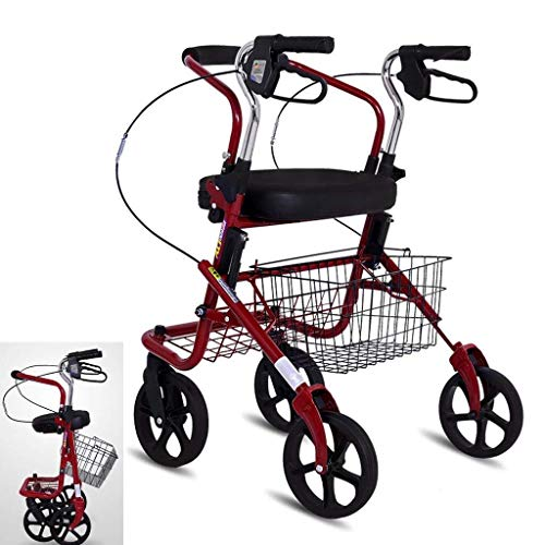 Het winkelen karretje bag Ouderen Trolley, Ouderen Shopping Cart, opvouwbare Four-Wheel Walker Ouderen Trolley, Kruidenier Scooter, Four-Wheel Wandelstok vouwen trolley