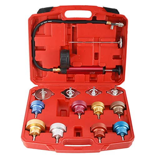 KUNTEC 14pc Automotive Cooling System Tester Radiator Pump Pressure Leak Tester Gauge Tool Kit