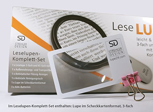 Profi Leselupe 6x Komplett-Set – Hochwertige LED Lupe mit Lese-Licht – 3x und 45x Vergrößerungsglas + Tasche inkl. Zubehör – für Senioren & zum Verschenken - 6
