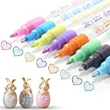 ★SAFE MATERIALS: Nontoxic, acid-free, xylene-free, environmental friendly and safe for both children and adults. ★PACKAGE CONTENTS: 8pcs different colors Double Line Pens. Black, Green, Sky Blue, Light Blue, Purple, Orange, Yellow and Pink. Durable f...