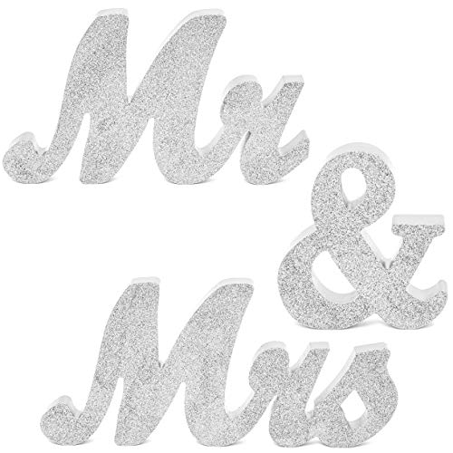 Mr. and Mrs. Signs for Wedding Table Decoration (6 Inches, Silver, 3 Pieces)