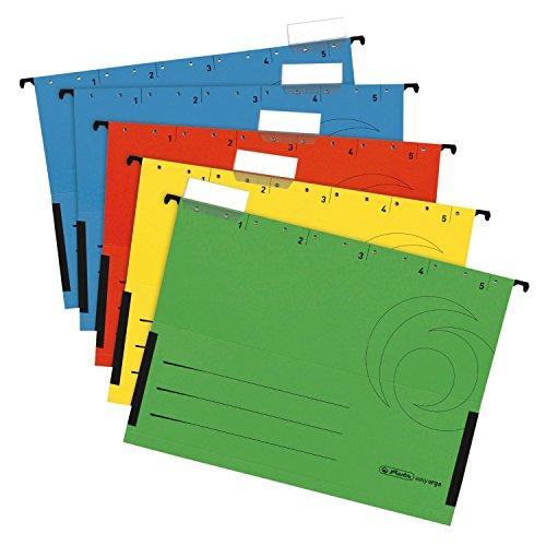 Herlitz 5874755 Hängetasche, seitlich geschlossen, Organisationsdruck, farbig sortiert (30 Stück)