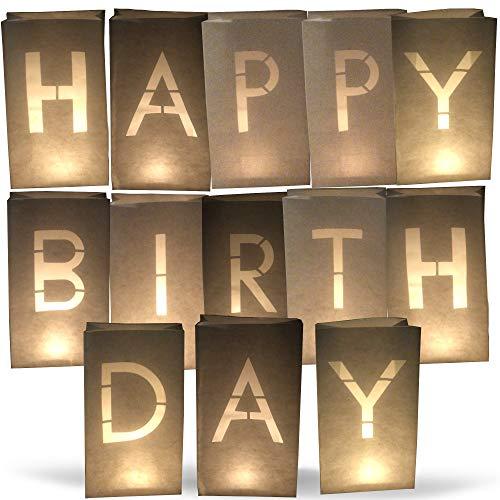 AMENOPH1S Happy Birthday-Set   Weiße Papierlaternen   Kerzentüten   Lichttüten   Einzelne Buchstaben   Dekorationen für Geburtstage   Schwer Entflammbar