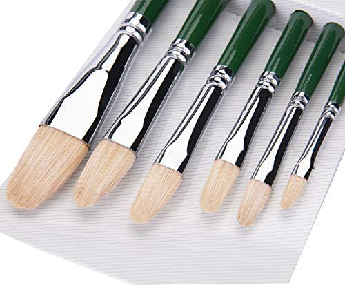 Fuumuui pennelli ad Olio Acrilico 100% Puro Pelo di Maiale chungking Set di 6 pennelli di Nocciola per Principianti, artisti e Studenti