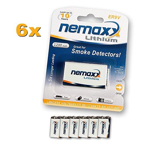 6X Nemaxx Lithium 9V Block Batterie Set für Rauchmelder 10 Jahre Lebensdauer