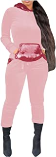 RkBaoye Womens Plus Size Hood Sequins Fleece Jogger Activewear Set