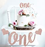 Mini Things 1st First Birthday Decoration Set One High Chair Banner and One Cake Topper (Rose Gold)
