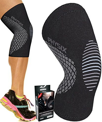 Physix Gear Knee Support Brace - Best No-Slip Knee Braces for Knee Pain Women & Men, Compression Knee Sleeves for Running Workout Walking Hiking Sports Arthritis ACL Torn Meniscus (1 Piece, Grey S)