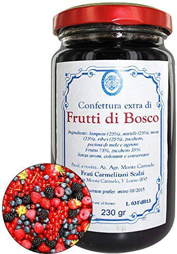 LE DELIZIE DEI MONASTERI SAPORI & TRADIZIONI Wild Berry Jam Made By Discalced Carmelite Friars in Loano, Italy - Net Weight 230 g (pack of 6 pieces)