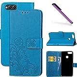 COTDINFOR Huawei Honor 7X Hülle für Mädchen Elegant Retro Premium PU Lederhülle Handy Tasche im Bookstyle mit Magnet Standfunktion Schutz Etui für Huawei Honor 7X Clover Blue SD.