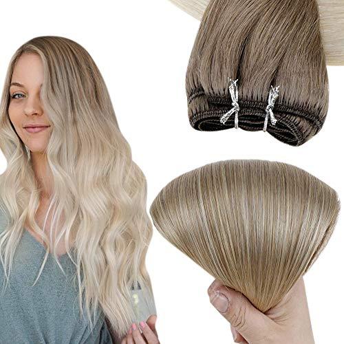 Easyouth Tissage Naturel Cheveux Humain pour le Mariage Couleur Cendre Brun Mixte Blond Platine Tissage Bresilien en lot avec Closure Lisse 1Pcs 70g 12pouce