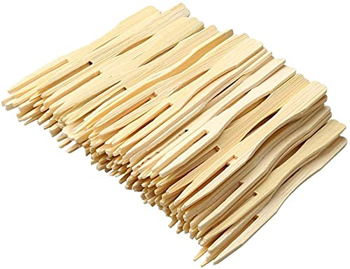 JagMor Bamboo Forks 8cm, Mini Food Picks for Party, Banquet, Buffet, Catering, and Daily Life. Two Prongs Blunt End Toothpicks for Appetiser, Cocktail, Fruit, Pastry, Dessert. (100 PCS)