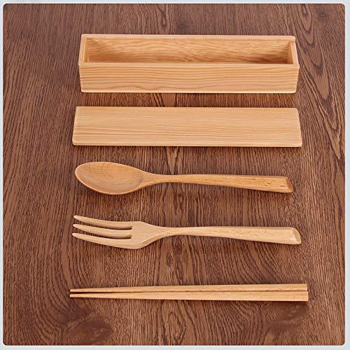 SOMESUN Natürlich Gesund Holz Besteck Chinesisch Japanisch Traditionell Lebensmittelqualität Hölzern Essstäbchen Gabel Löffel Besteckset Hause Küche Familie Abendessen Geschirr Set