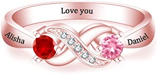 Customize Engagement Rings for Couples,Promise Rings Personalized Rings Wedding Rings for Women Infinity Ring Birthstone Rings Eternal Love Couple Rings,Name Ring Mothers Ring Gift