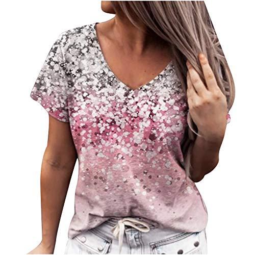 Masrin T-shirt pour femme décontracté à paillettes 3D - Pull à manches courtes avec col en V et chemisier tunique ample (L, rose)