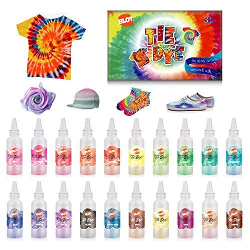 Tie Dye Kit 20 Farben Textilfarben Ungiftig Stofffärben Batikfarben mit Gummibänder Handschuhe Krawattefärben Kit für Erwachsene Kinder DIY-Projekte
