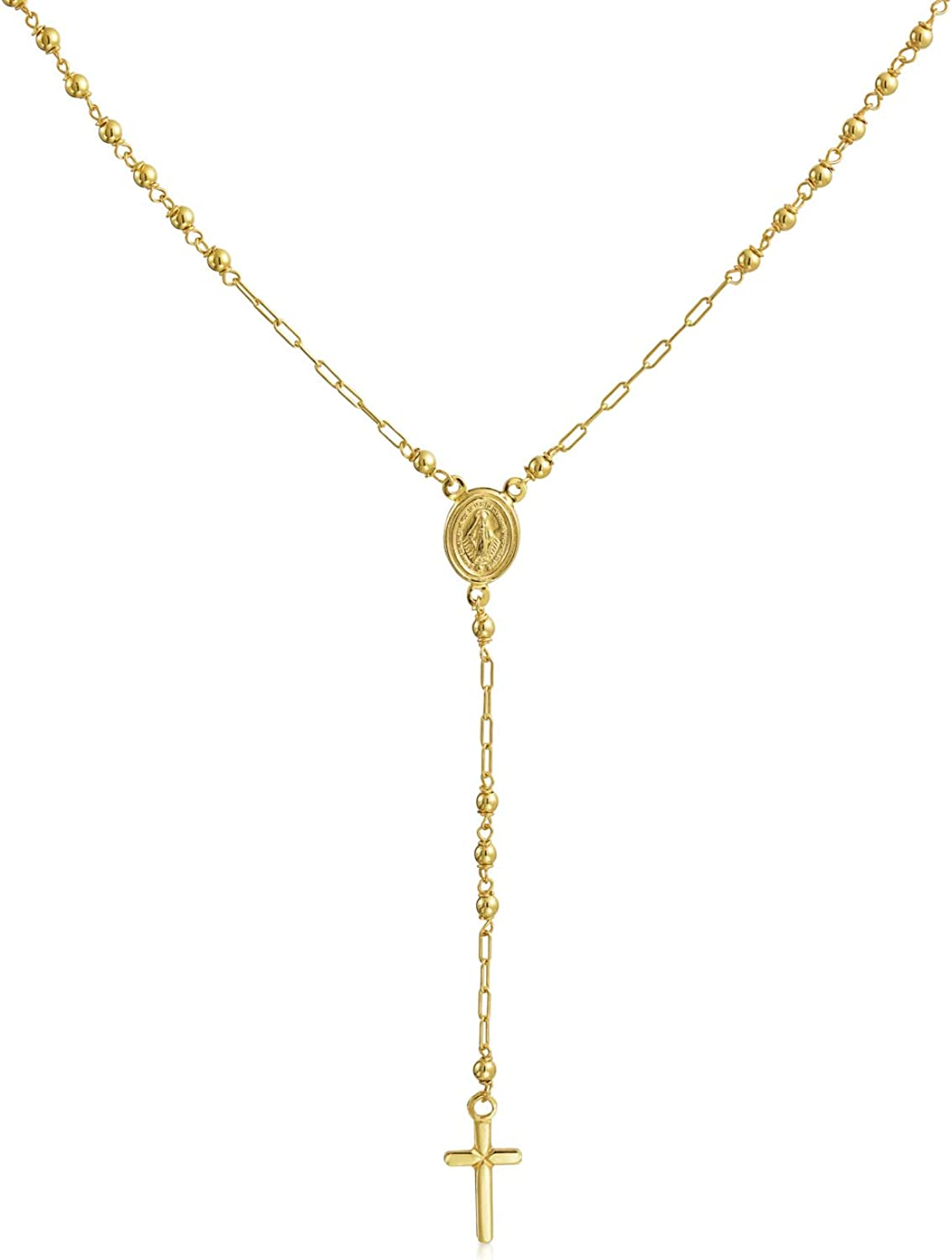 14K Yellow Gold Real Virgin Mary Rosary Prayer Religious Mirror Ball Beads Y Necklace For Women For Teen
