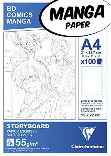 Clairefontaine 94037C Manga Block Storyboard (ideal für Zeichen von Manga und Multitechniken, DIN A4, 21 x 29,7 cm, 100 Blatt, 55 g, mit einfachem Raster) weiß