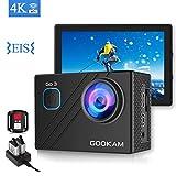 GOOKAM Caméra Sport 4K WiFi 20MP, Caméra Sport sous-Marine 40M Étanche 170°Grand-Angle 2.0 '' LCD Ultra HD, Caméra d'Action avec 2 Batteries Rechargeables 2.4G Télécommande et Kit d'Accessoires