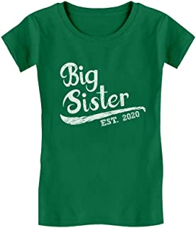Big Sister Est 2020 - Sibling Gift Idea Toddler Kids Girls' Fitted T-Shirt