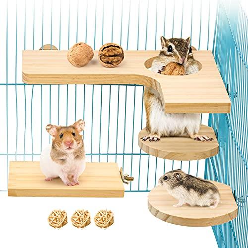4 teiliges Hamster Zubehör Set, Kleintier Plattform Naturholz Hamster Spielzeug für den Käfig für Meerschweinchen Chinchilla Ratten wellensittich inkl. L-Sprungbrett Runde Rechteck und 3 Kügelchen (L)