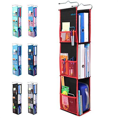 3 Shelf Hanging Locker Organizer for School, Gym, Work, Storage - Upgraded   Abra Company   Eco-Friendly Fabric Healthy for Children   Adjustable School Locker Shelf from 3 to 2 Shelves (Black/Red)