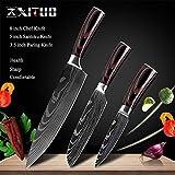 Cuchillo de cocina de 8' pulgadas Modelo japonés cuchillos de cocina láser Damasco Chef Santoku cuchillo afilado Cleaver rebanar Cuchillos Herramienta EDC Herramientas de cocina