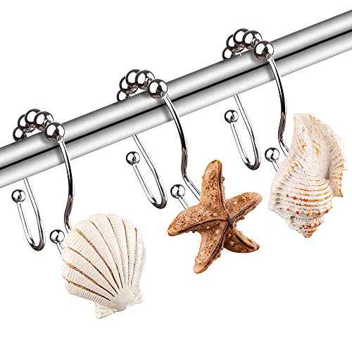SUMBLIME Seashell Decorative Shower Curtain Hooks - 12PCS Rust Proof Stainless Steel Beach Curtain Rings for Sea Nautical Themed Decor, Bathroom Restroom, for Thanksgiving, Mother's Day, White