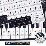 Autocollants de piano et clavier Notes de musique Ensemble de stickers pour les touches de couleur et Noir, Transparent et amovible pour 37/49/54/61/88 Clavier (La couleur)