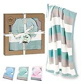 sei Design Baby Decke aus 100% Baumwolle 90 x 70 | kuschelige Strickdecke + Mütze | Ideal als Erstlingsdecke, Kuscheldecke, Puckdecke für Mädchen oder Jungen