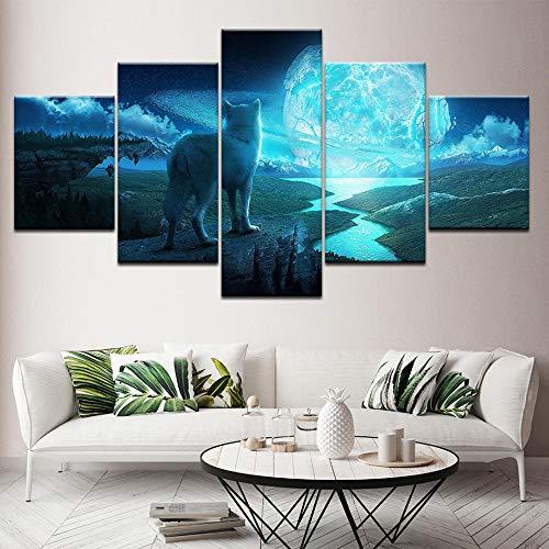 BFLOFCanvas Schilderijen 5 Panel Dier Tijgerprint Decoratie Foto Canvas Schilderij Woonkamer Muur Poster Met Kunstwerk Prints op Canvas