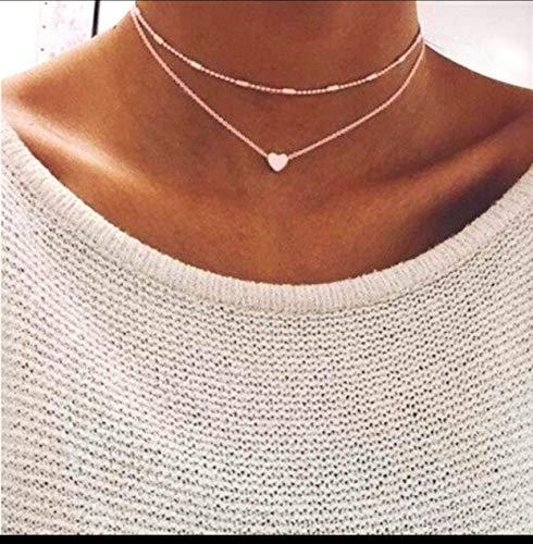Damen Halskette mit kleinem Herz in Rose | Frauen Schmuck aus Edelstahl | Doppelkette für Mädchen mit Verschluss