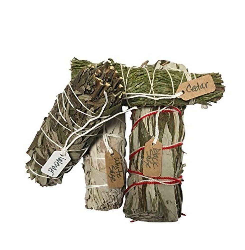 蛾ソースうぬぼれたさまざまなSmudge Sticksサンプル最高級のための機会ホワイトセージ、ラベンダー、杉、ブラックセージ1つの各4?Inches Long。